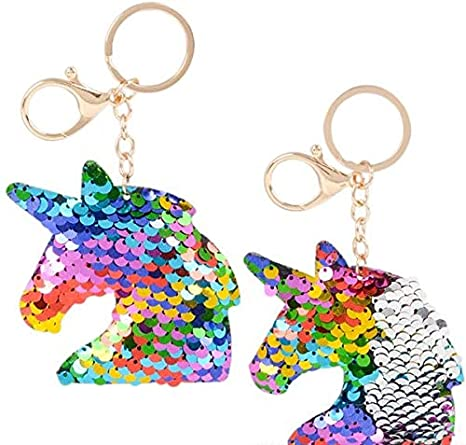 Rhode Island Novelty 3 Inch Flip Sequin Plush Rainbow Silver Magical Unicorn Keychains 2pc Set