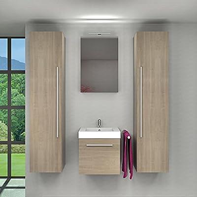 Baño muebles Juego City 100 V7 roble claro, mueble de baño lavabo 50 cm 1x 5w Led + 1x Energiebox +45.-eur: Amazon.es: Hogar