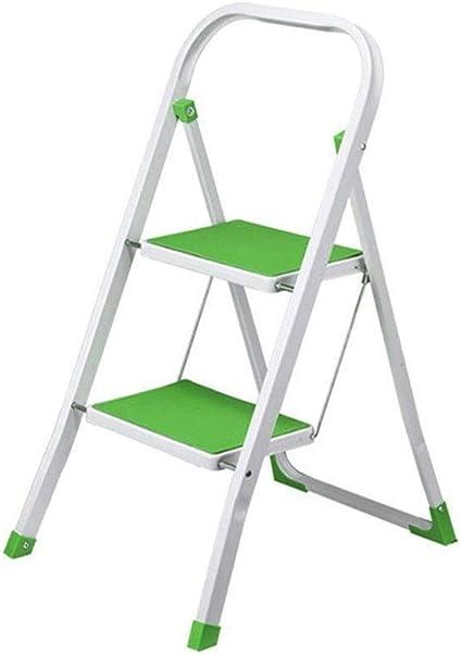 Zbm-zbm Escalera De Aluminio De 2 Pasos, Escalera De Tijera, Bandeja De Almacenamiento Superior, Escalera Plegable, Antideslizante, Carga Máxima 150 Kg Taburete pequeño (Color : Green): Amazon.es: Hogar