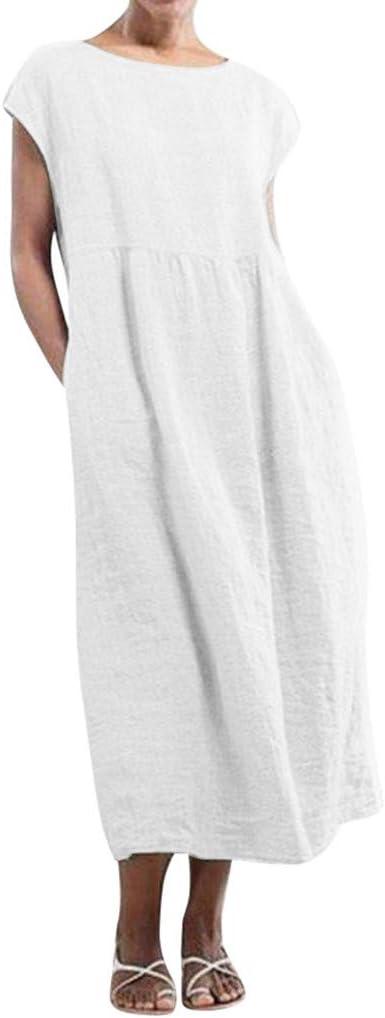 Vestido Largo De Algodón Y Lino Sin Mangas con Cuello En O Vestido Mujer Mujer Camiseta Casual Tallas Grandes Vestido De Señoras Holgado Maxi Bolsillos Vestidos De Playa Wyxhkj: Amazon.es: Ropa y