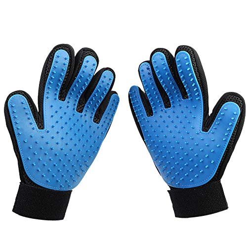 joy wisdom Pet Grooming Glove – Efficient Pet Hair Remover Mitt – Pet Massage Gloves – Gentle Deshedding Brush Glove – Perfect for Dog Cat Horse with Long & Short Fur -1 Pair(Blue).