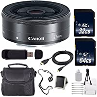 Canon EF-M 22mm f/2 STM Lens + 64GB SDXC Class 10 Memory Card + 32GB SDHC Class 10 Memory Card 6AVE Bundle 12 (International Verion) No Warranty