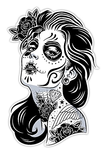 Osmdecals sugar skull sticker version 1 day of the dead vinyl wall home decor car window bumper decal sticker the obsessed with skulls store