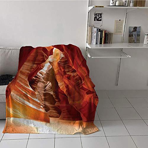 Khaki home Children's Blanket Digital Printing Microfiber All Season Blanket (35 by 60 Inch,Americana Decor,Grand Canyon Cave in Colorado Picture Print,Beige Brown Red Orange (Baby Blanket Colorado Chenille)