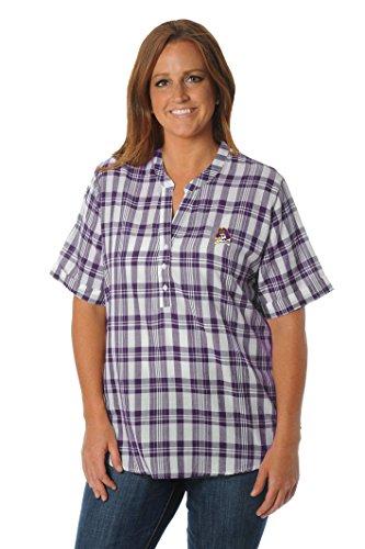(UG Apparel NCAA East Carolina Pirates Women's Plus Size Short Sleeve Plaid Top, 1X, Purple)