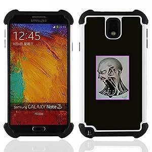 """SAMSUNG Galaxy Note 3 III / N9000 / N9005 - 3 en 1 impreso colorido de Altas Prestaciones PC Funda chaqueta Negro cubierta gel silicona suave (Scream Mad"""")"""
