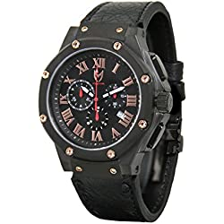 Meister Watches / MSTR Watches Men's Ambassador Watch | AM132OB | Black & Black | Stainless-Steel Case And Leather Band