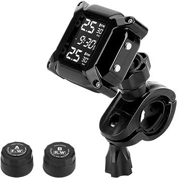 Jansite Motorrad Tpms Wireles Reifendrucküberwachungssystem Mit 2 Externen Sensoren Lcd Display Auto Alarmsystem Anti Off Wasserdicht Wasserdicht Auto