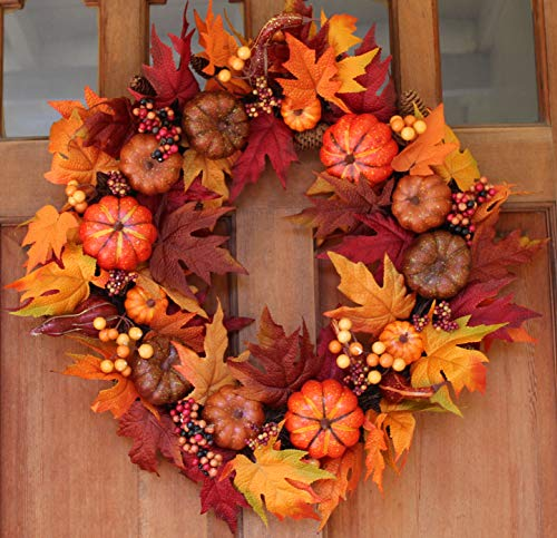 Woodbury Pumpkin Harvest Silk Fall Front Door Wreath 22 Inches - Brightens Front Door Decor with Rich Fall Colors, Approved for Covered Outdoor Use, with Beautiful White Gift Box -