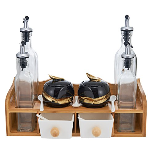 - Condiment Jars and Oil Bottles Set - 2 Spices Seasoning Pots, 4 Glass Vinegar Cruets, 5 Spoons, 2 Drawer Salt Boxes on Wood Display Rack - Porcelain Multifunctional Kitchen Tool Organizer