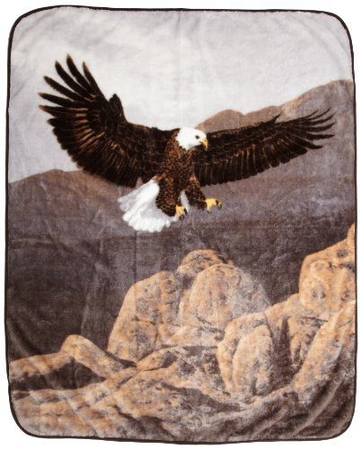 Northpoint Printed Raschel Animal Throw, American Bald Eagle