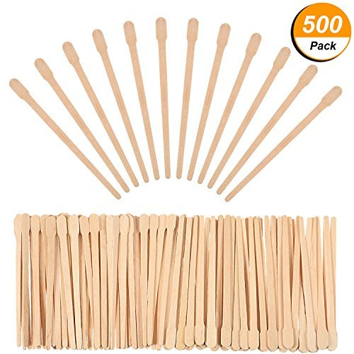 Lvcky 500 Pack Wax Spatulas Wood Craft Sticks Small for Hair Removal Eyebrow Wax Applicator Sticks