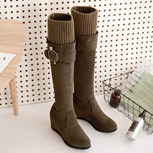 Women's Boots Classic Green Velvet Aiyoumei FqHRpgqw