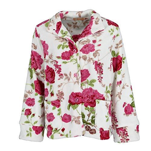 La Cera Women's Floral Plush Bed Jacket, Medium, Multi