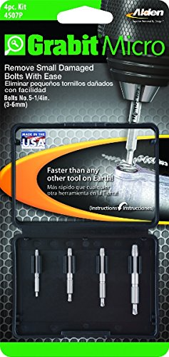 Alden 4507P Grabit Micro Broken Bolt Extractor 4 Piece Kit - Small Bolt and Screw Remover - Made in the USA