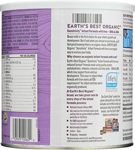 51d7IjlIpGL. AC - Earth's Best Organic Low Lactose Sensitivity Infant Formula With Iron, Omega-3 DHA & Omega-6 ARA, 23.2 Ounce