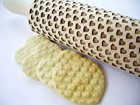Rolling pin with small HEARTS pattern. Engraved rolling pin. Custom rolling pin with hearts pattern for embossed cookies