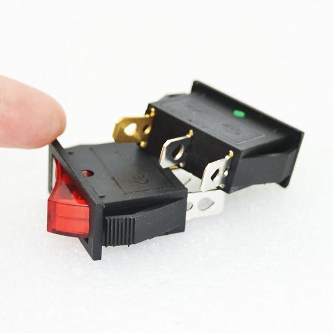 20pcs KCD3-102N 3 Pin 2 File 15A 220V Power Switch 10pcs Red + 10pcs Green