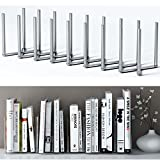 Adjustable Book Holder Bookend 8 Sections Extends up to 28'' Length Stainless Steel Unique Design