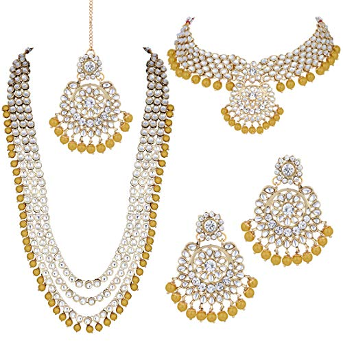 Jewelry Fashion Indian - Aheli Ethnic Indian Bridal Jewelry Long Choker Necklace Earrings with Maang Tikka Set for Women (Yellow)