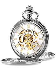 ManChDa Mens Pocket Watch Classic Mechanical Hand-Wind Pocket Watch Steampunk Roman Numerals Fob Watch for Men Women with Chain + Gift Box(Silver)