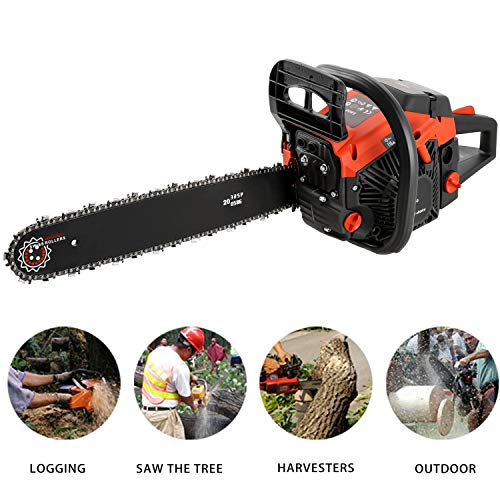 Hurbo 58CC 4 HP 20 Inch Petrol Chain Saw Gas Power Chainsaws 2 Strokes Single Cylinder Gasoline Engine (Red3)