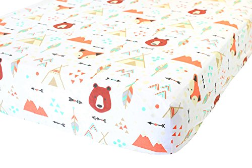 100% Organic Cotton Fitted Crib Sheet by ADDISON BELLE - Premium Baby Bedding - Soft, Breathable & Durable (Crib Sheets Boy - (Orange Soft Bear)