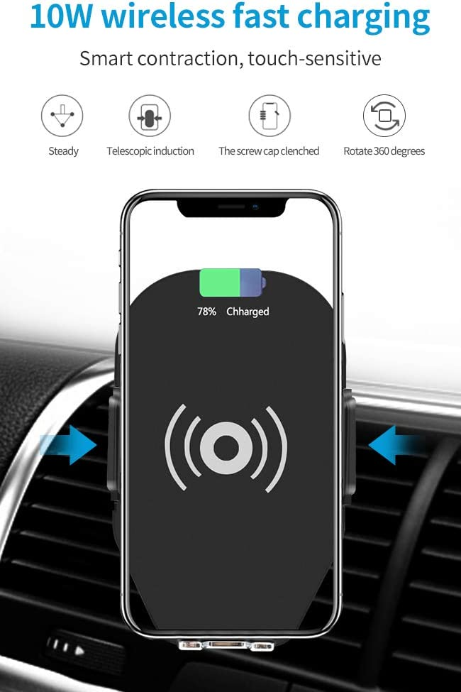 New Wireless Car Charger Mount,Intelligent Induction 10W Fast Charging Qi Car Phone Holder Air Vent Dashboard Compatible Samsung Galaxy S10 //S10+//S9 //S9+//S8 //S8+,iPhone Xs Max//Xs//XR//X// 8//8 Plus
