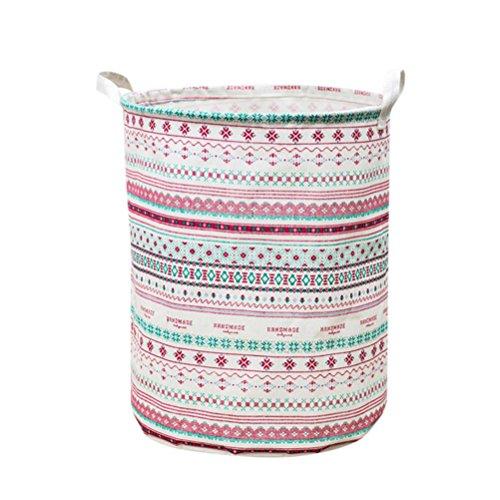 Woshishei 44 35cm Folding Cylindric Waterproof Coating Canvas Fabric Laundry Hamper Storage Basket Clothes Laundry Basket (Stripe)