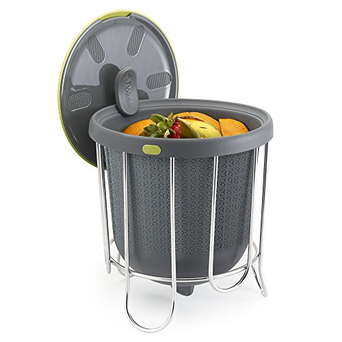 (Polder Kitchen Composter-Flexible silicone bucket inverts for emptying and cleaning - no need to touch contents- adjustable lid for ventilation & airflow control, Gray / Green)