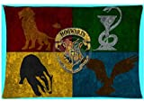 ON 30 x 60 cm Red Orange Harry Potter Pillow Case, Blue Yellow Hogwarts Theme Pillowcase Gryffindor Slytherin Hufflepuff Ravenclaw Griffon Snake Badger Raven Wizards Witch Magic School, Polyester