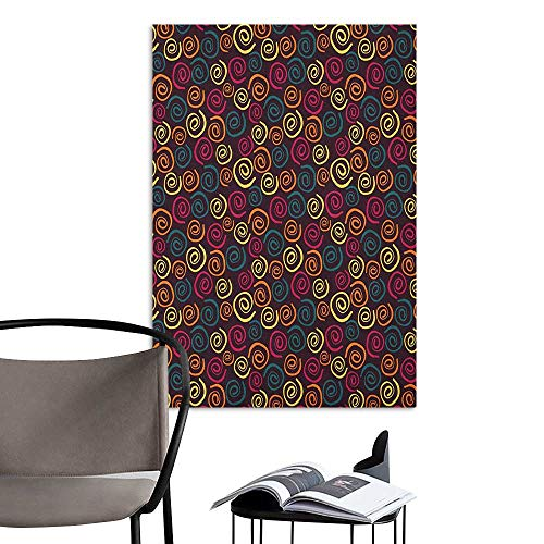 (Wall Art Canvas Prints Abstract Spirals Pattern with Multiple Colors on a Dark Background Abstract Curved Stripes Multicolor Living Room Wallpaper W24 x H36)