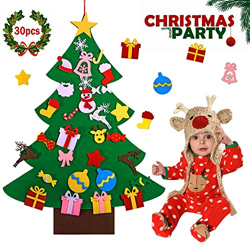 Love66 DIY Felt Christmas Tree 3.3Ft Felt Tree for Kids with 30 Pcs Detachable Magic Ornaments Fit for Kids Cultivating Creativity,Winter Christmas Party Home Decor