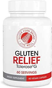 Gluten Relief with Tolerase G - 1 Bottle - 60 Capsules - Digestive Enzyme Made Specifically to Break Down and Digest Gluten Protein