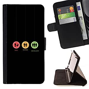 Momo Phone Case / Flip Funda de Cuero Case Cover - Bad Good Excellent - Funny Sign - Sony Xperia M4 Aqua