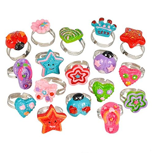 32 Piece Glitter Fashion Costume Rings - Party Favors, Prizes, Party Supplies, Dress Up, Stocking (Zoombie Costumes)