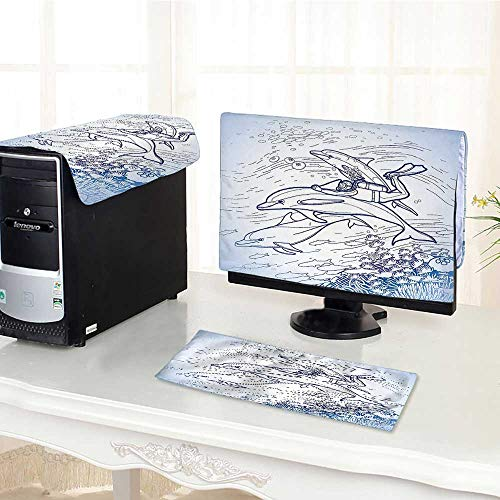 (Jiahonghome Desktop Computer Cover 3 Pieces Sea Sketch of Scuba Diver Hing Fin of Dolphin Over Reefs Underwater Scratch Resistance /25