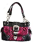 western cowgirl black leopard animal rhinestone belt buckle purse (Hot Pink)