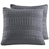 PHF Waffle Weave Euro Sham Cover 26'' X 26'' 100% Cotton Throw Pillow Cover Pack of 2 Dark Grey