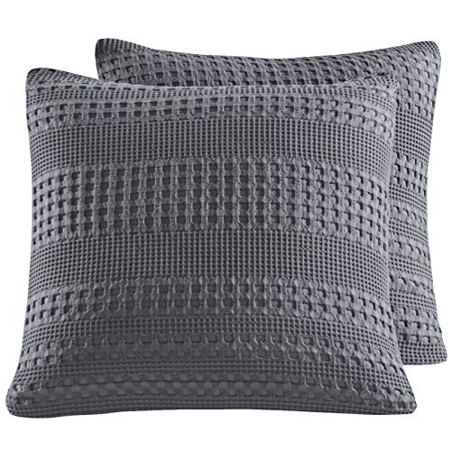 "PHF Waffle Weave Euro Sham Cover 26"" X 26"" Christmas Decorations for Winter 100% Cotton Throw Pillow Cover Pack of 2 Dark Grey"
