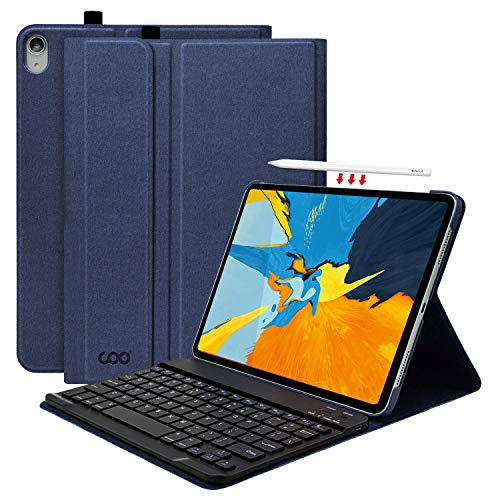 (iPad Pro 11 Keyboard Case, Textured Hard Case with Detachable Wireless Keyboard for 11 Inch iPad Pro 2018 (Support Apple Pencil 2 Charging) - with Pencil Holder, Blue)