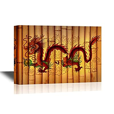 Traditional Red Small Chinese Dragon - Canvas Art