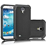 Samsung Galaxy S4 Case Cover - Three Layer Slim Fit Hard Case, Shock absorbing Hybrid Rubber Plastic Impact Defender Rugged Cell phone case for Galaxy S4 (Black)