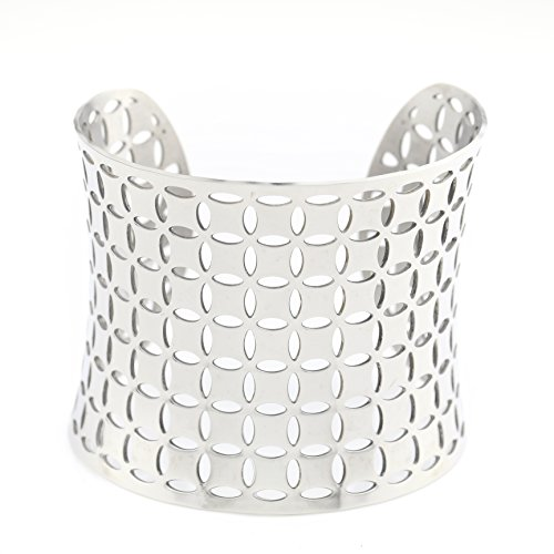 United Elegance Sleek Silver Tone Cuff with Contemporary Cut Out (Tone Cut Out Design)