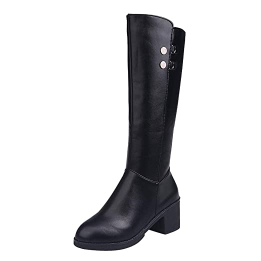 0765d600dcd3a Amazon.com: GoodLock Women Fashion Leather Over The Knee Boots ...