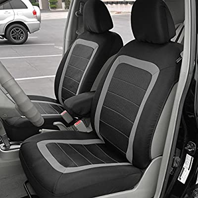 BDK FreshMesh Car Seat Covers, Front Seats Only – 2 Gray Front Seat Covers with Matching Headrest Cover, Modern Sideless Design for Easy Installation, Universal Fit for Car Truck Van and SUV: Automotive