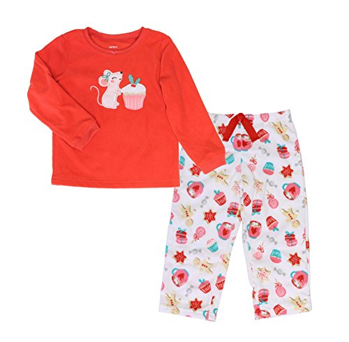 Carter's 2 Piece Fleece Pajama Set for Girls (3T, Red (Girls Carters 2 Piece Pajamas)