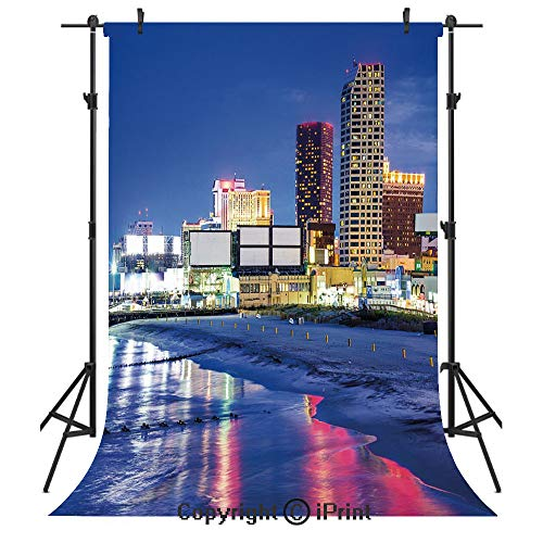 City Photography Backdrops,Resort Casinos on Shore at Night Atlantic City New Jersey United States,Birthday Party Seamless Photo Studio Booth Background Banner 3x5ft,Violet Blue Pink -
