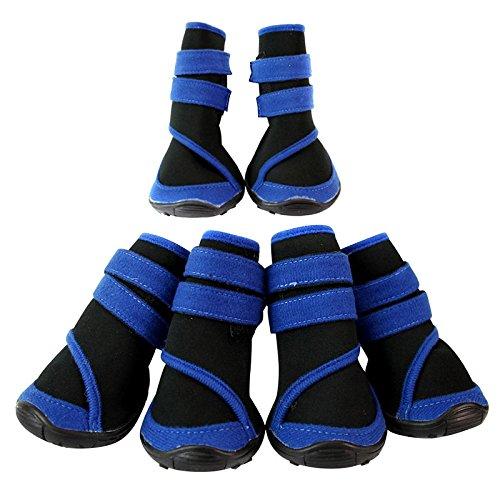 Semoss 4 Set Blau Wasserdicht Haustier Schuhe Hunde Schuhe Pfotenschutz Boots Hunde Stiefel Anti Rutsch,Größe:S,7.3 x 5.8 cm (L x B)