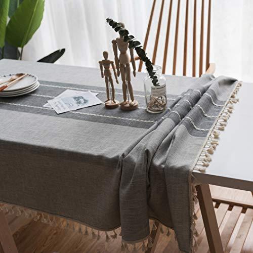 - RXIN Grey Tassel Tablecloth Embroidery Cotton Linen Table Cloth Rectangular Tablecloth Tea Tablecloth